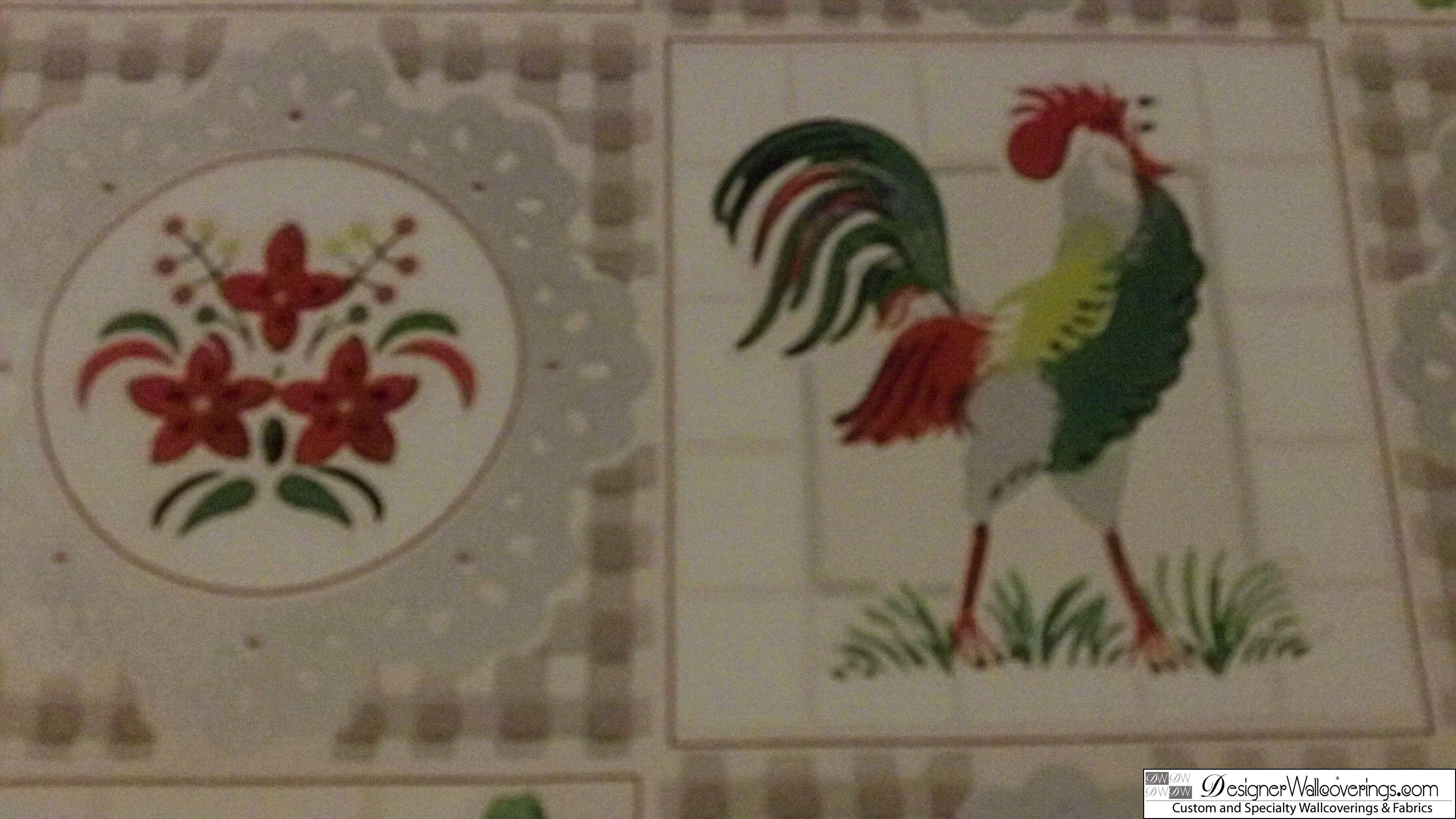 Rooster Tile Vintage Wallpaper [DIG 15009] Designer Wallcoverings 3072x1728