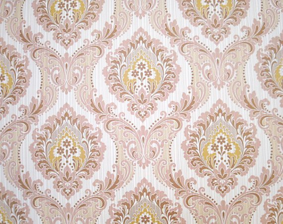 FREE SHIPPING Pink Gold Victorian Vintage Wallpaper   Gorgeous Retro 570x453