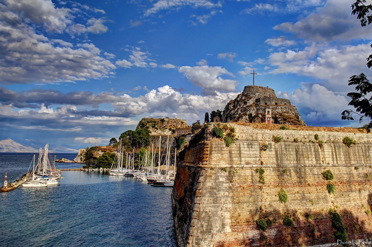 Wallpapers Greece Corfu Sky Coast Cities Clouds 1280x852