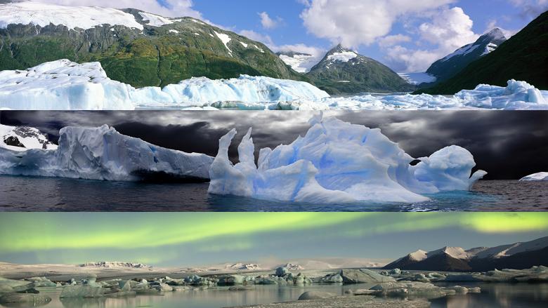 Desktop Fun Glaciers panoramic theme for Windows 8RT dual monitor 780x439