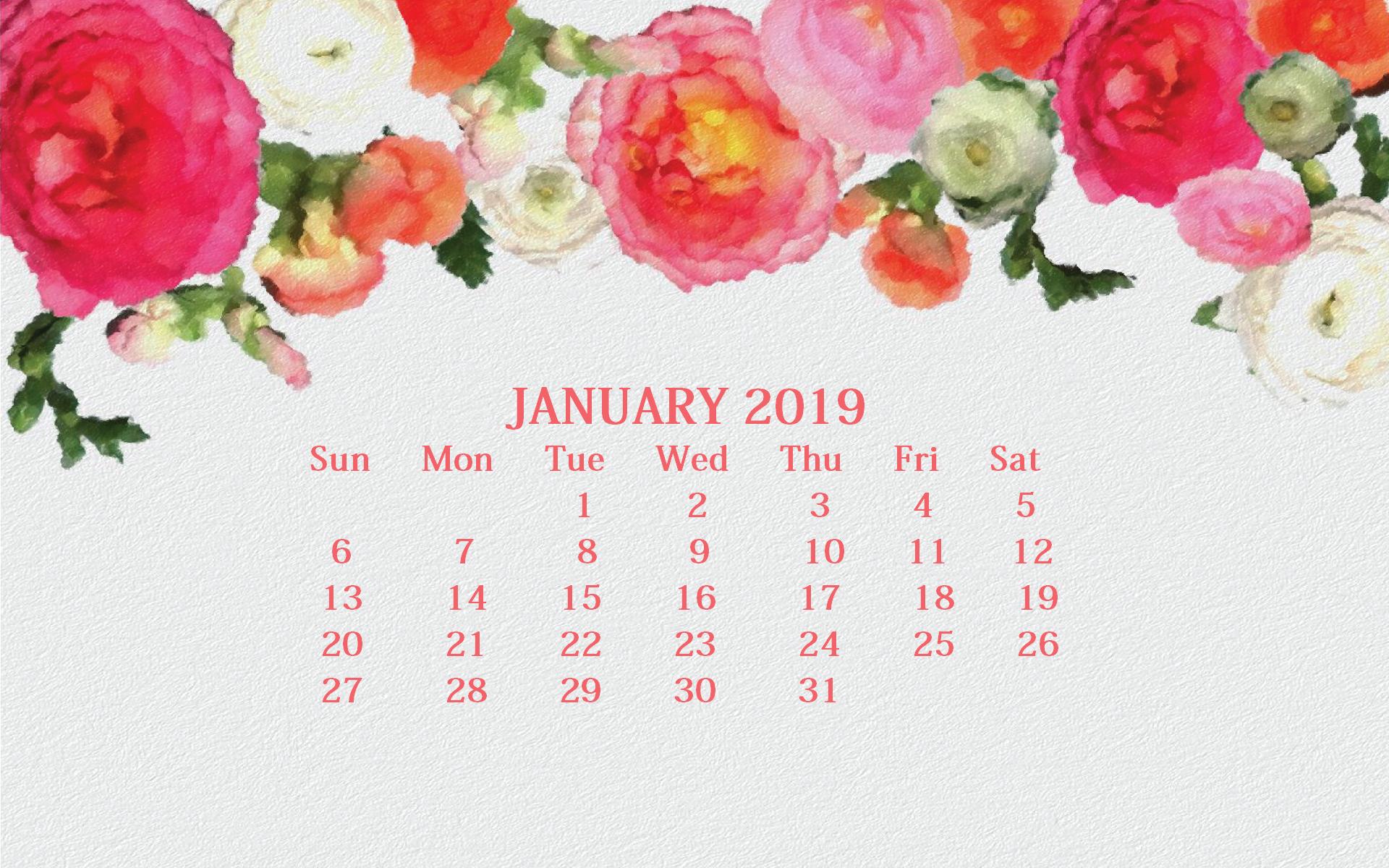 January 2019 Screensaver Backgrounds Max Calendars 1920x1200