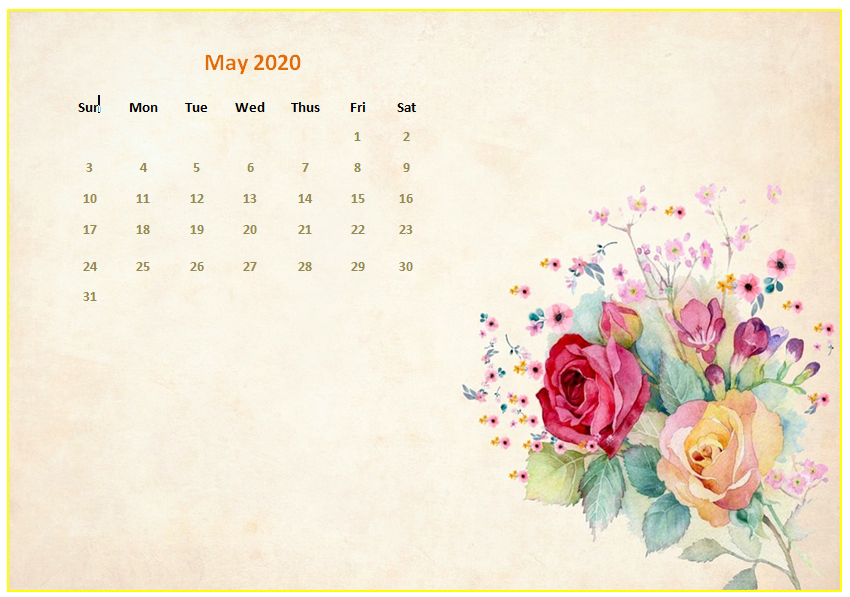 Cute May 2020 Calendar Floral Wall Calendar Design May 2020 850x597
