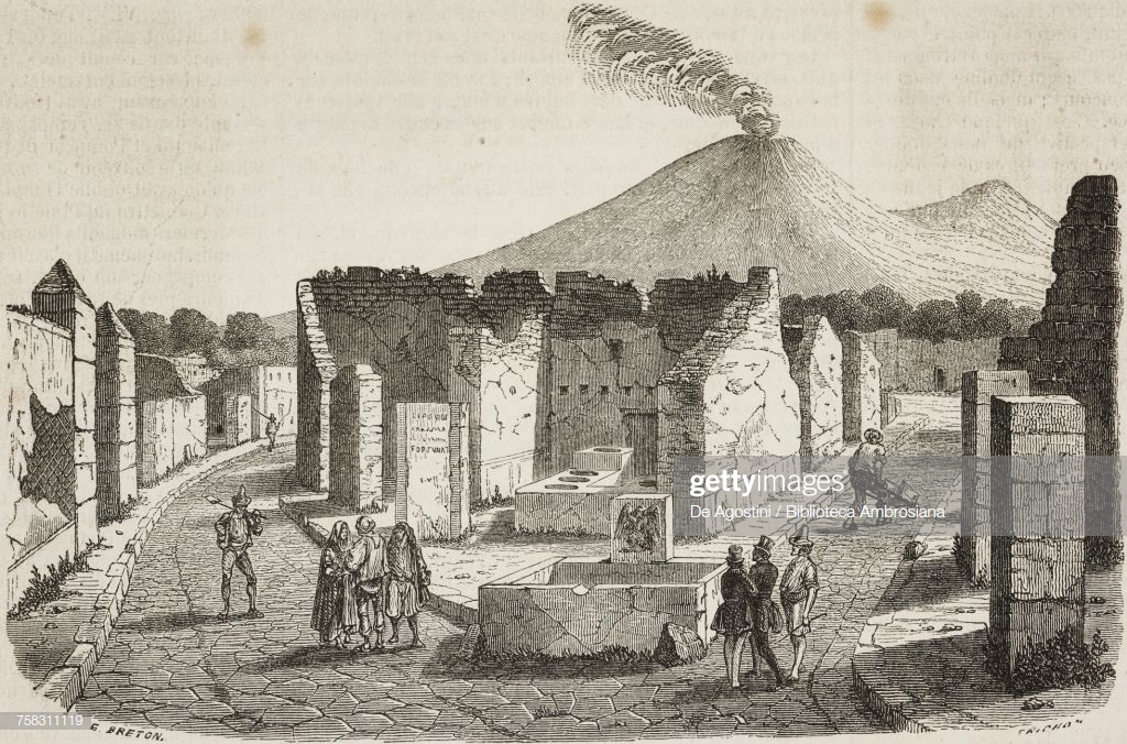 Ruins Of Pompeii With Vesuvius In Background Italy Illustration By 1024x676