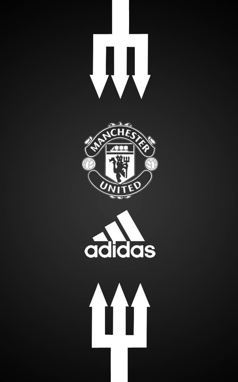 Manchester United Adidas Android wallpaper black Manchester 800x1280