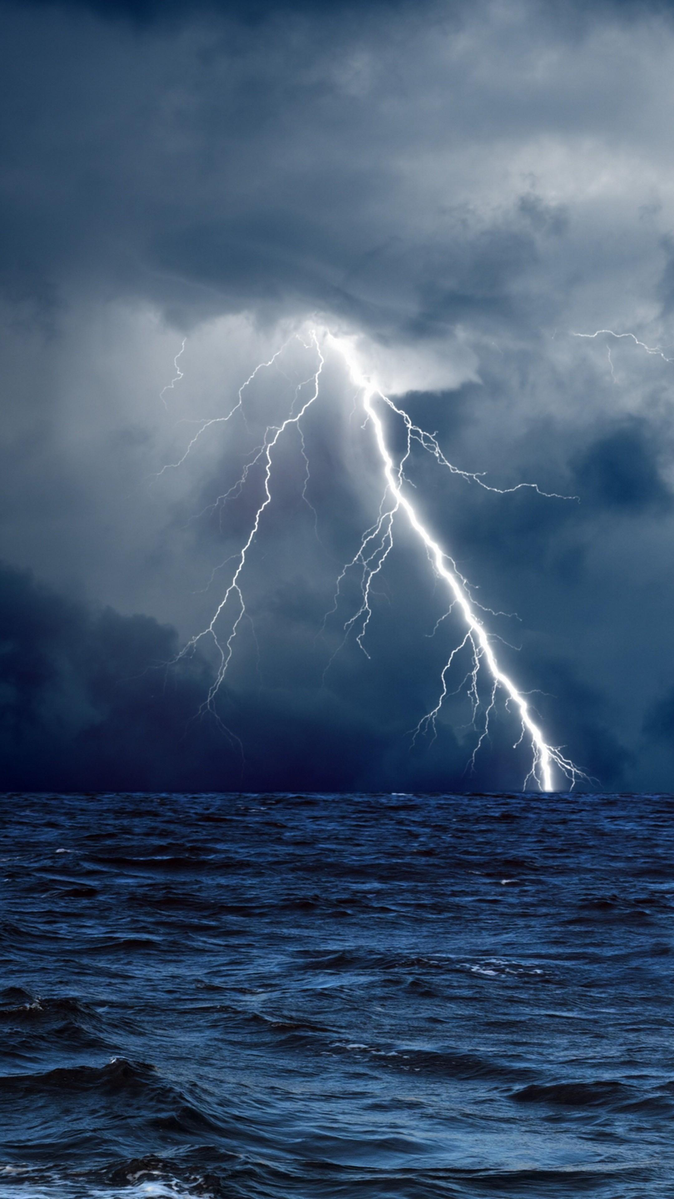 Wallpaper Sea 5k 4k wallpaper 8k ocean storm lightning 2160x3840