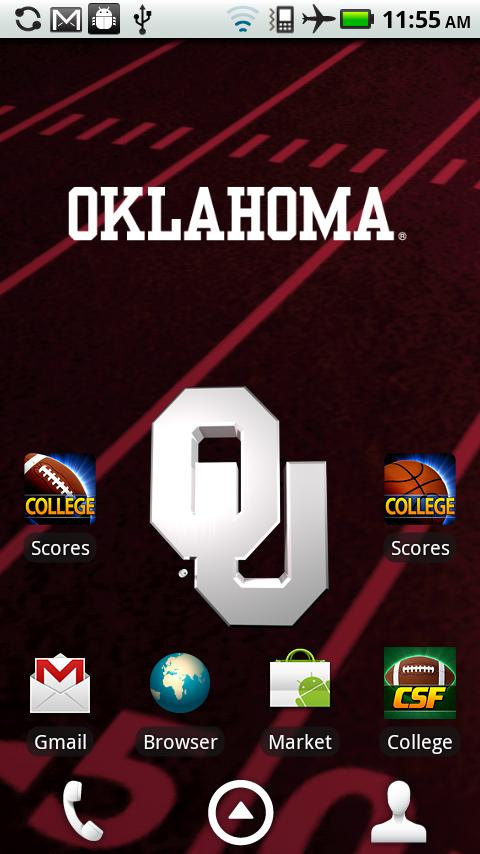 Officially licensed Oklahoma Sooners Live Wallpaper with animated 3D 480x854