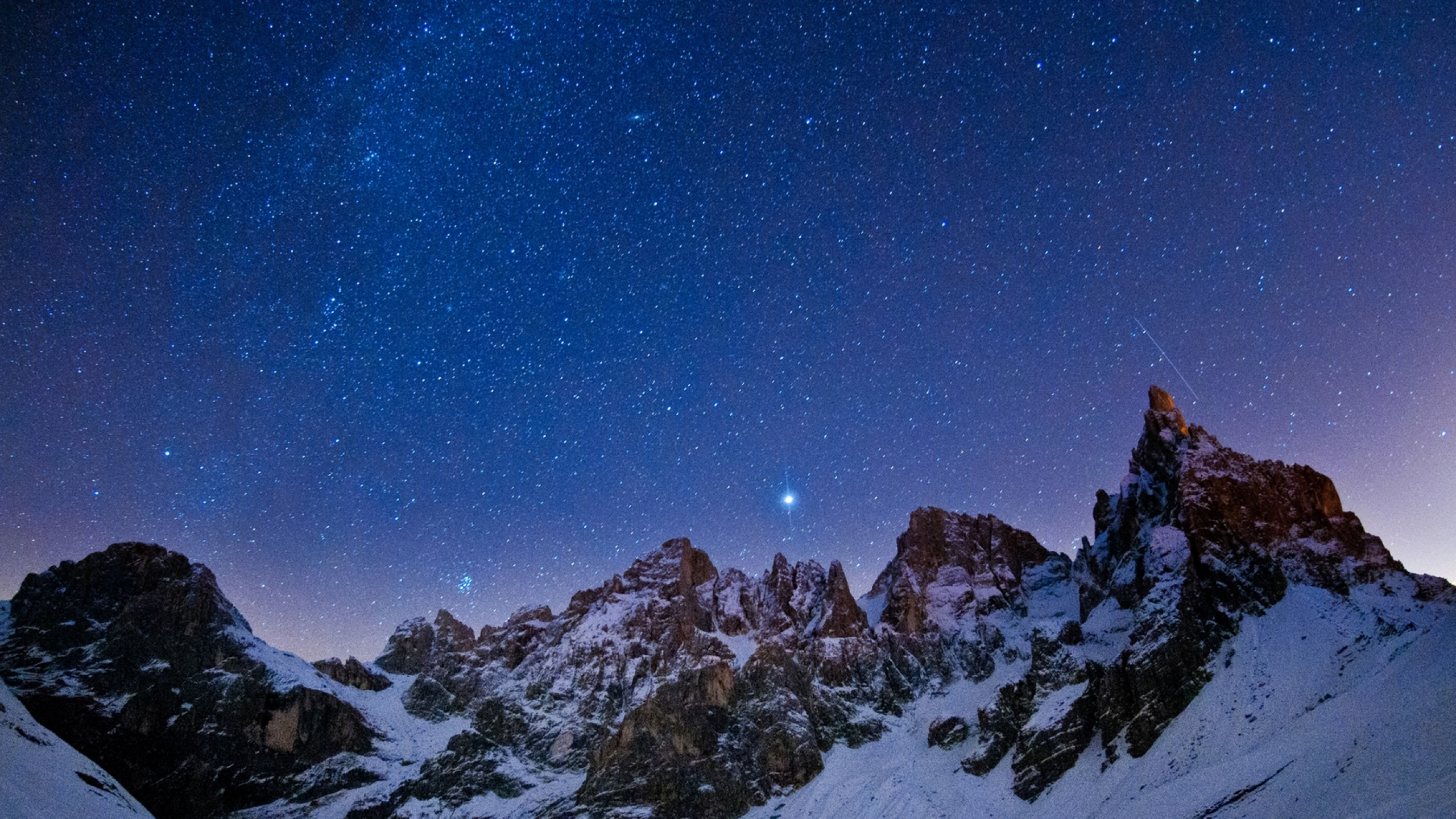 Download Wallpaper 2560x1440 Mountains Sky Night Stars 2560x1440