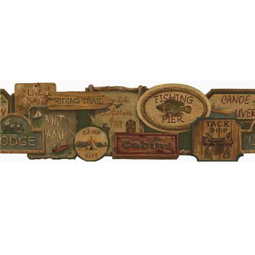 Rustic Signs Wallpaper Border 500x500