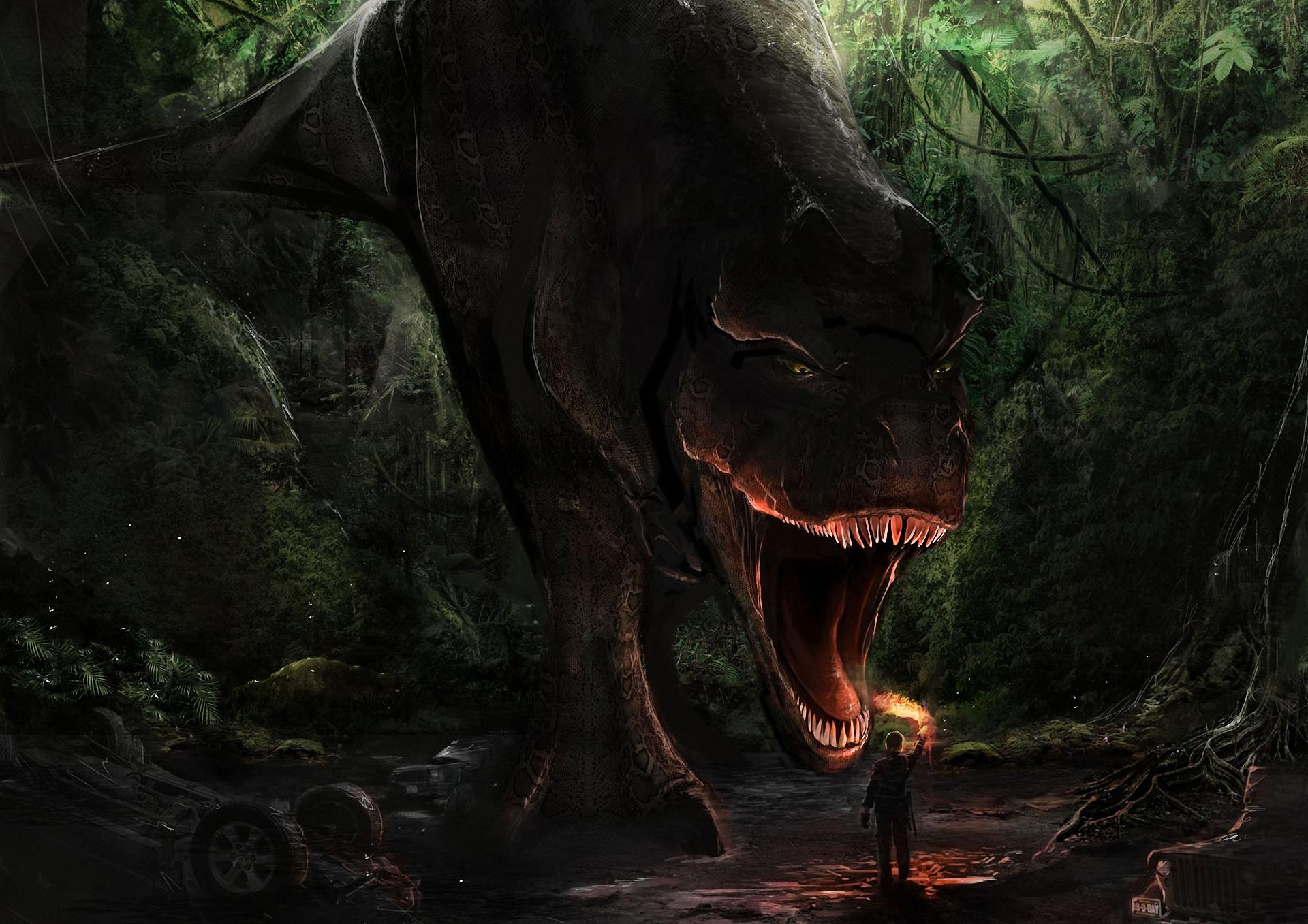 Wallpaper art dinosaur t rex a forest a man a torch mouth 1920x1357