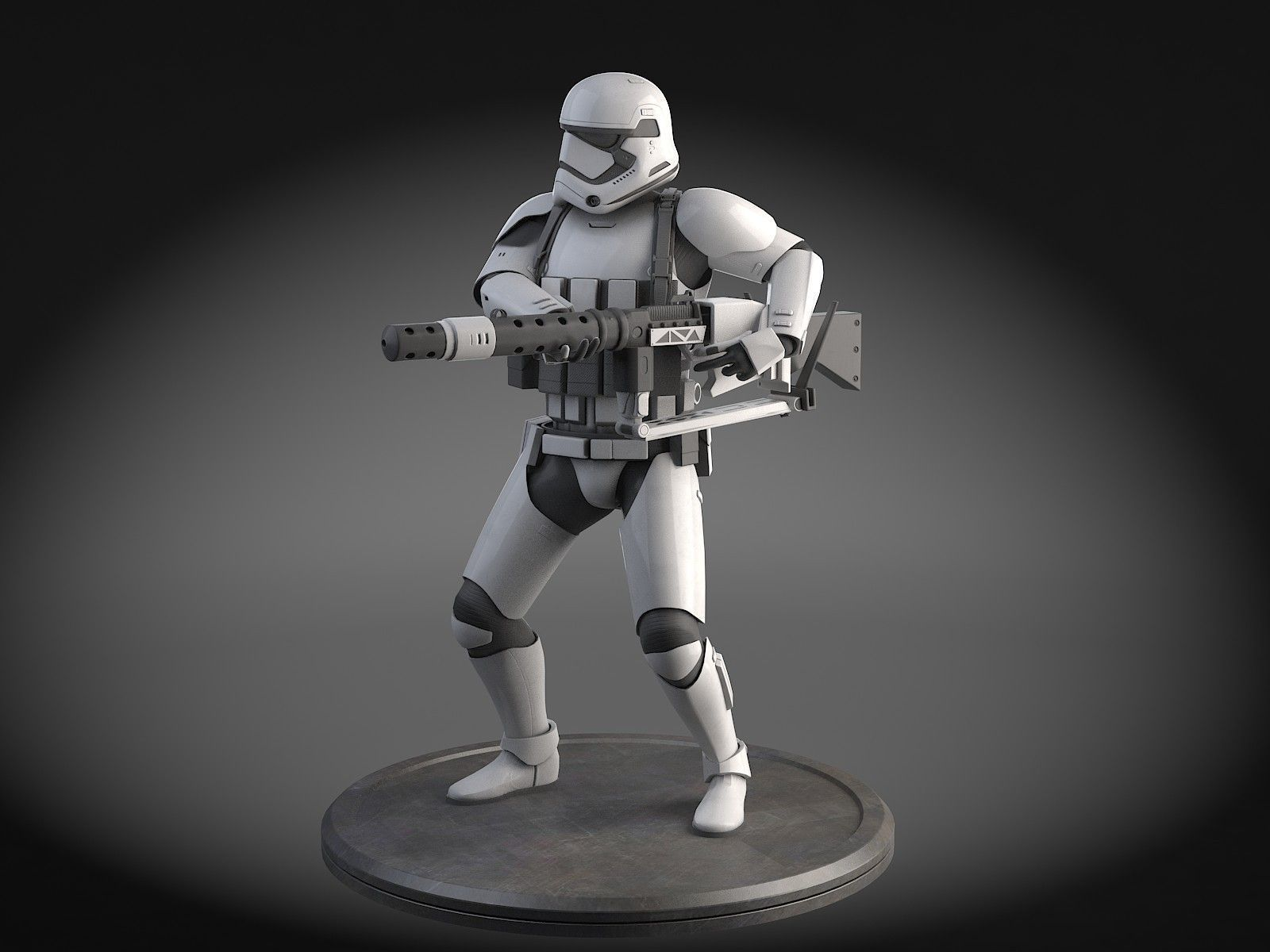 Star Wars First Order Stormtrooper Heavy 3D Model rigged max obj 1600x1200