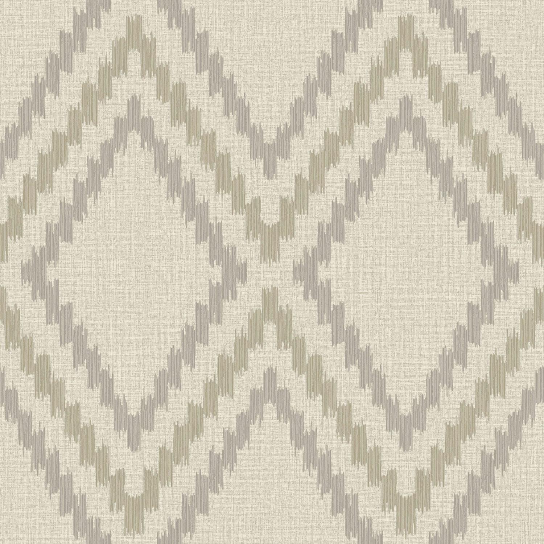 Grandeco Boho Chic Grey and Grey Brown Diamond Ikat on Latte Wallpaper 1500x1500