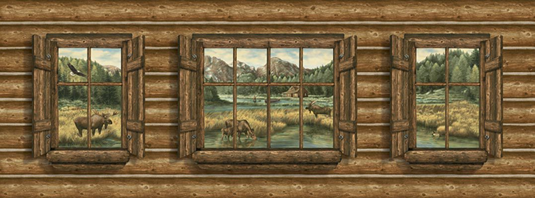 Log Cabin with Windows   Moose Mural   Lodge Outdoors Wallpaper 1077x400