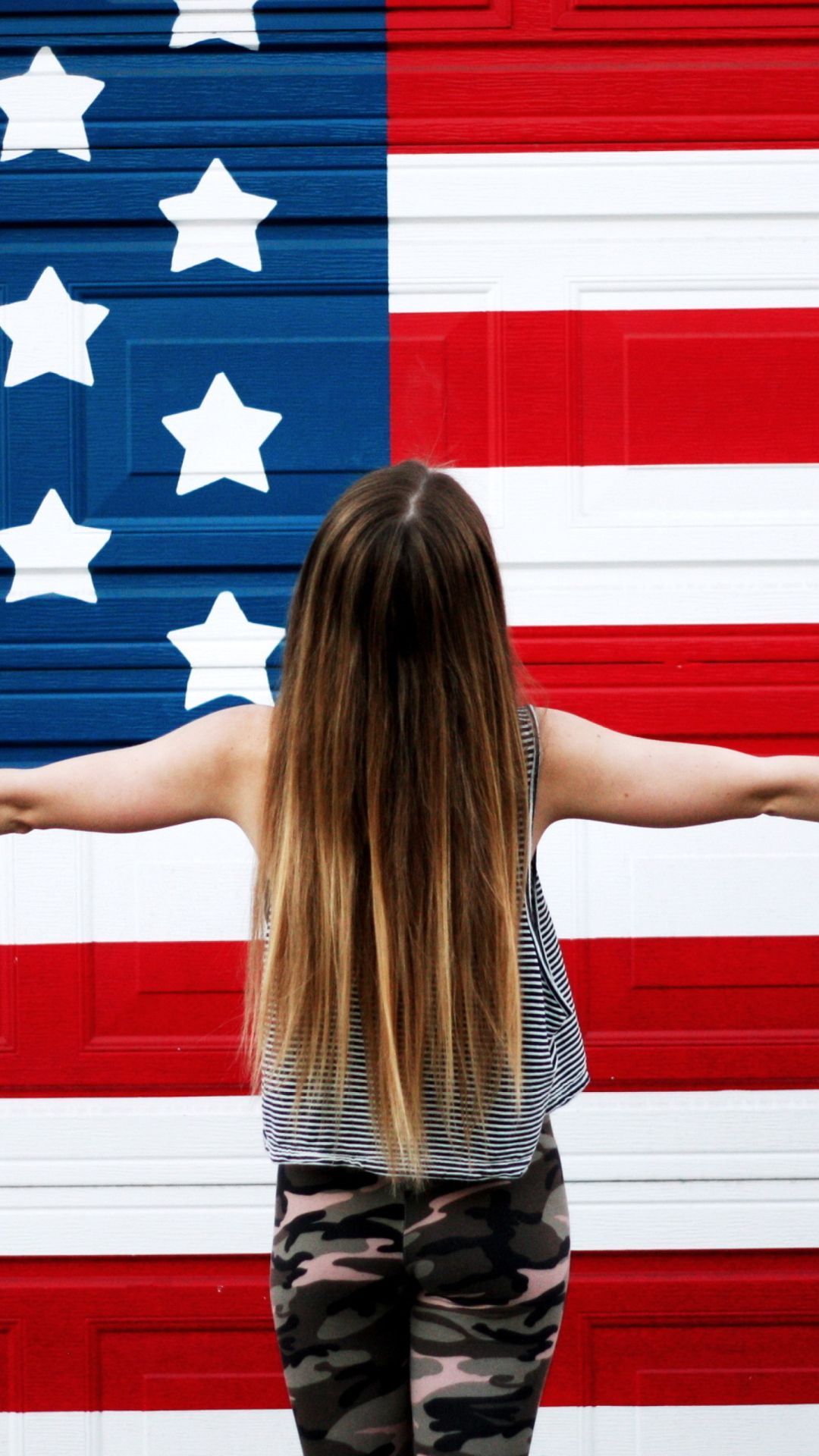 American Girl In Front Of USA Flag United States of America 1080x1920