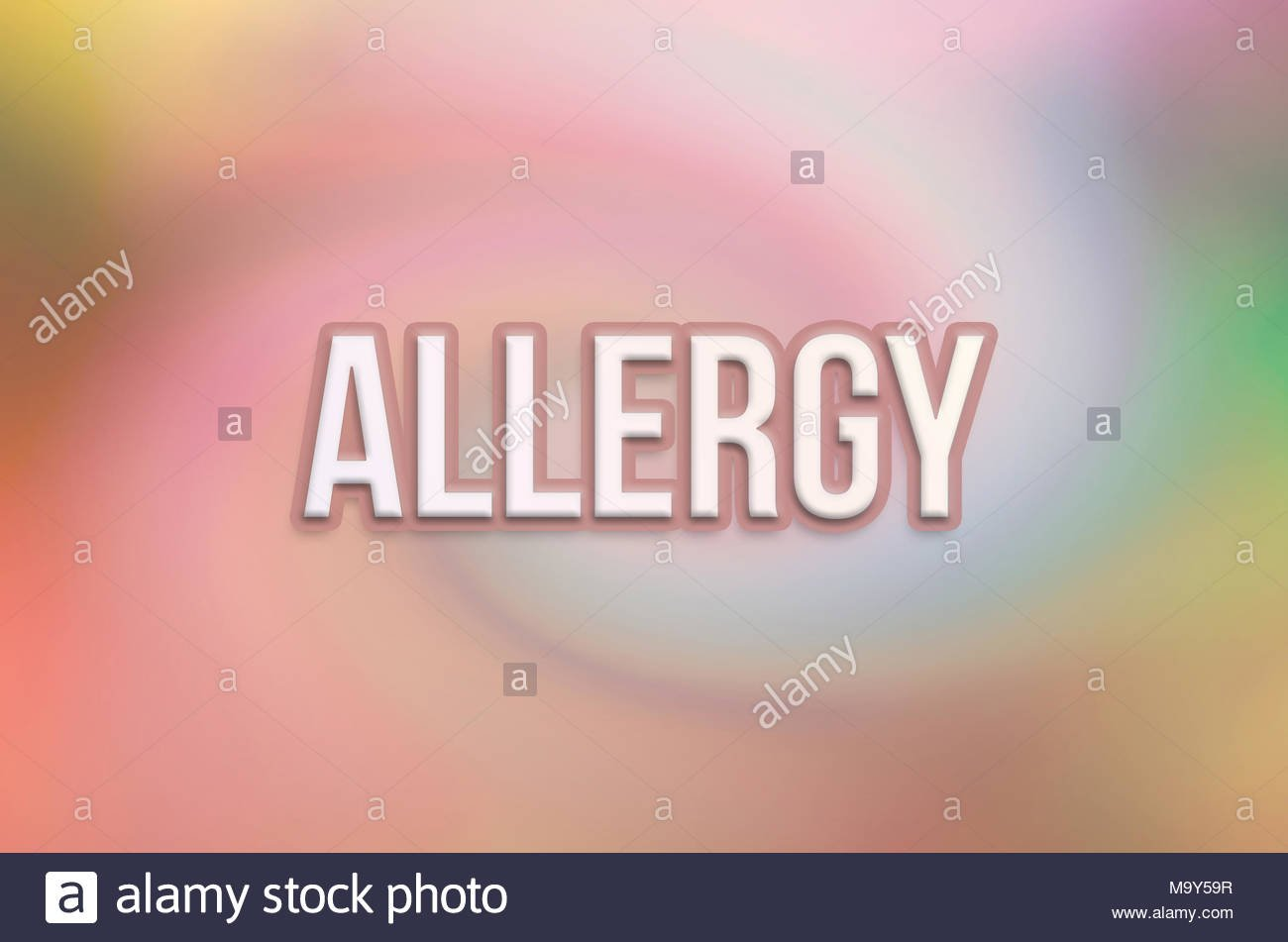 Allergy conceptual words with twirl colorful as background for 1300x951