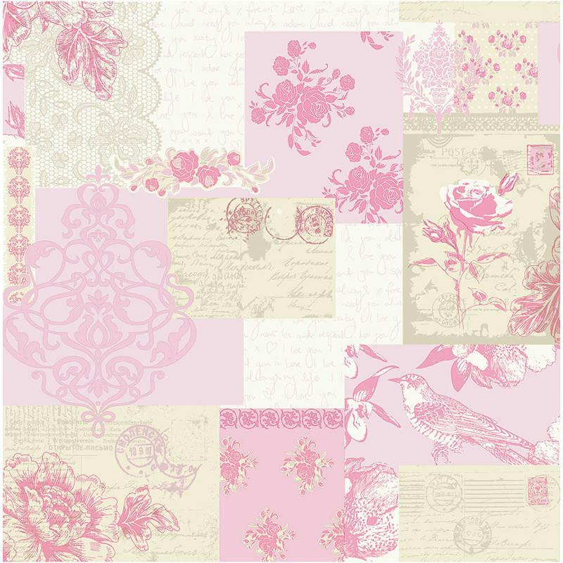 Coloroll Love Letters Motif Wallpaper   Pink Decorating DIY 800x800