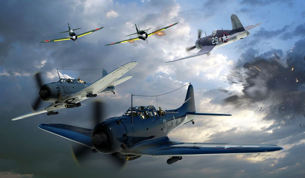 Douglas SBD 2 Dauntless Dive Bombers A10 by drewhammond on 1024x600