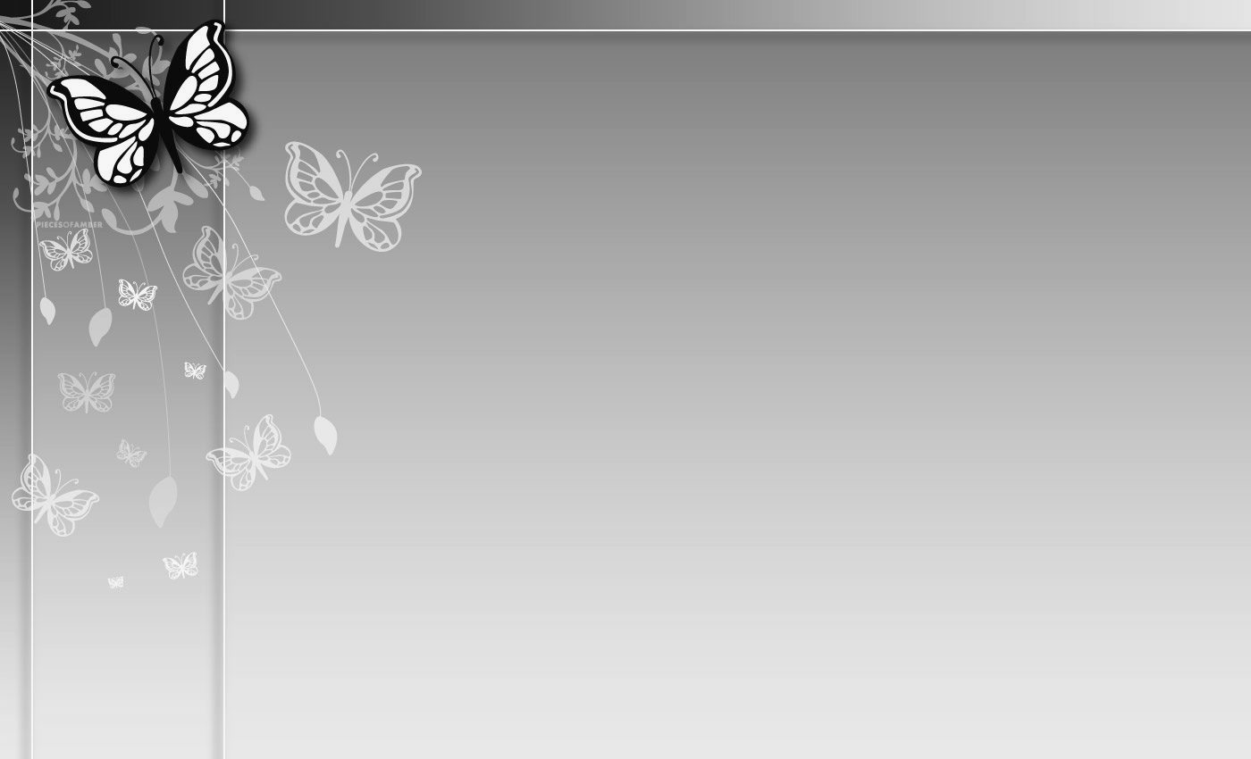 Free Download Grey Butterfly Flower Ppt Background Ppt