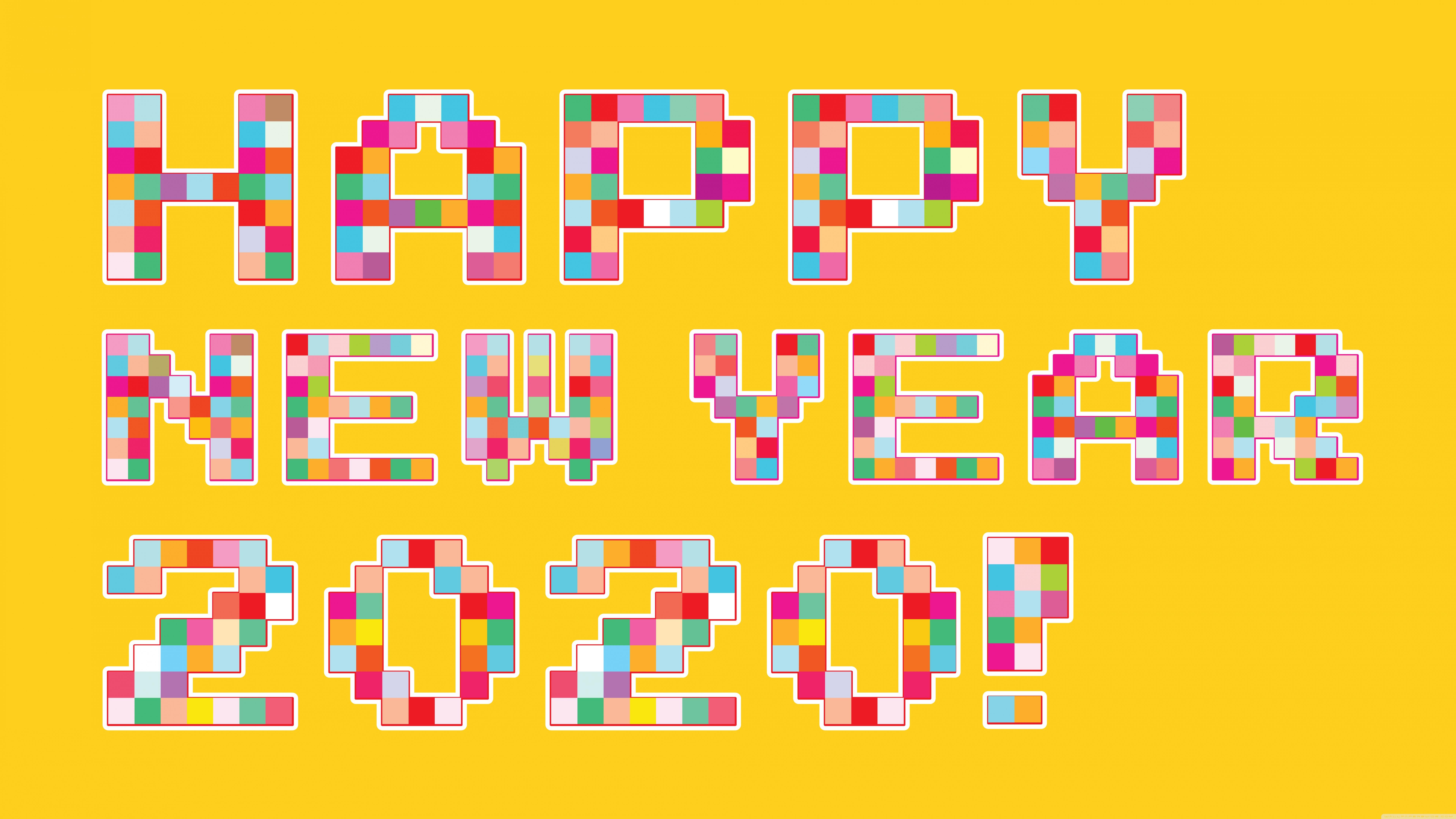 Happy New Year 2020 Pixel Art 4K HD Desktop Wallpaper for 4K 7680x4320