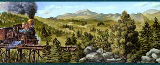 Mountain Train Wall Border   Wallpaper Border Wallpaper inccom 525x213