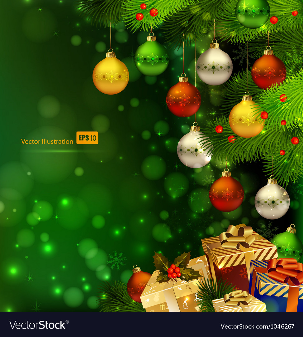 Green Christmas background Royalty Vector Image 973x1080