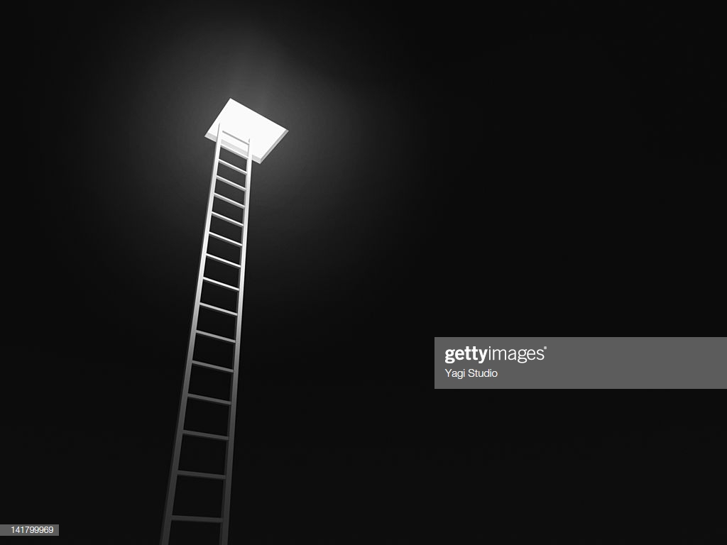 Ladder Leading To The Exit Black Background High Res Stock Photo 1024x768
