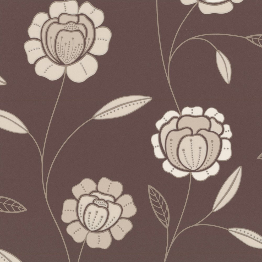 Brown Graham Brown Charming Wallpaper Chocolate Brown Cream 1000x1000