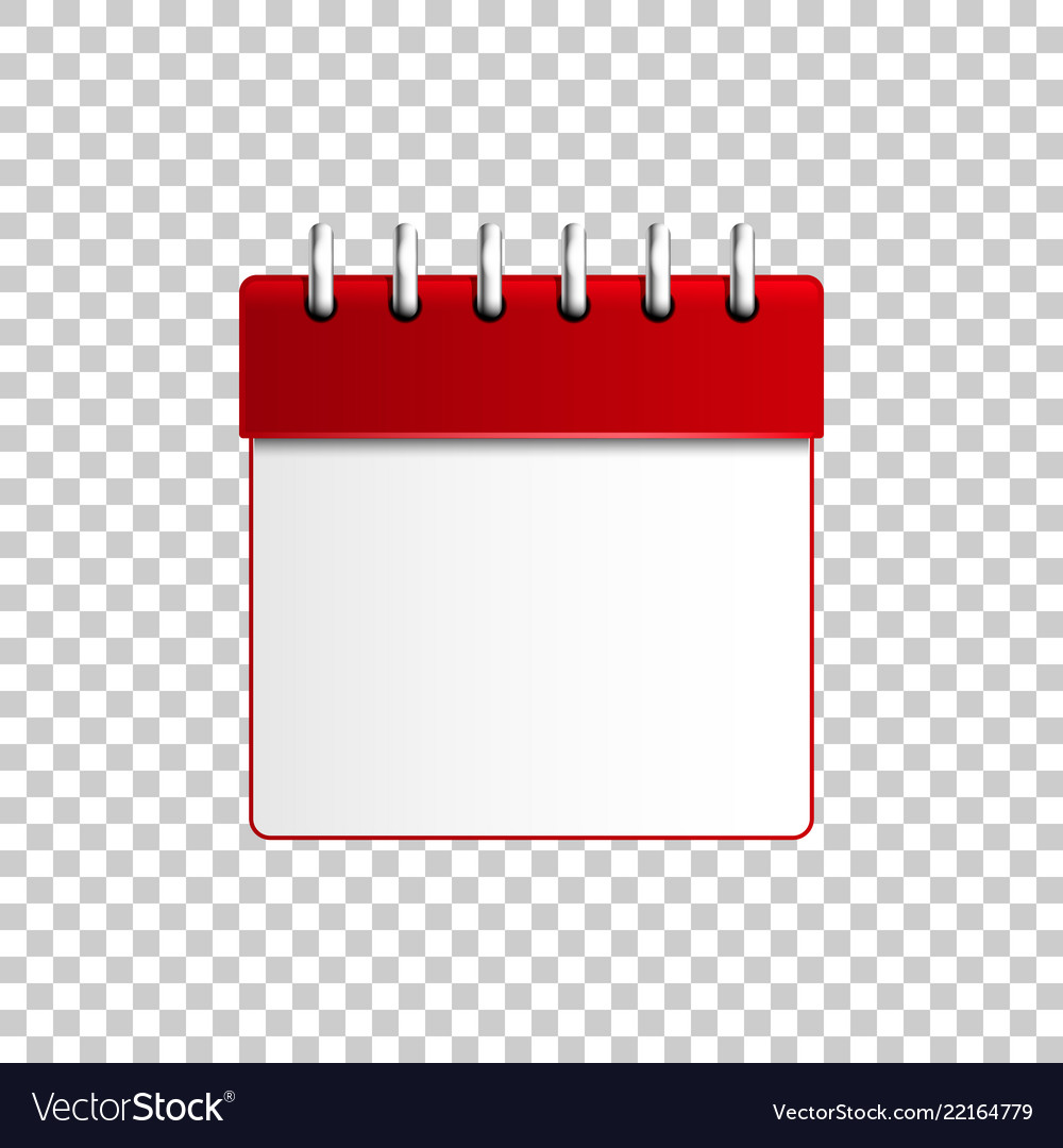 Realistic calendar red on transparent background Vector Image 1000x1080