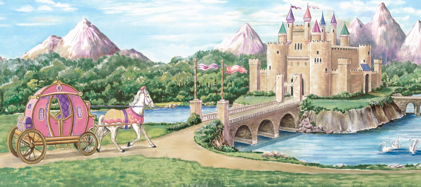 Princess castle wallpaper wallpapersafari for Castle mural wallpaper