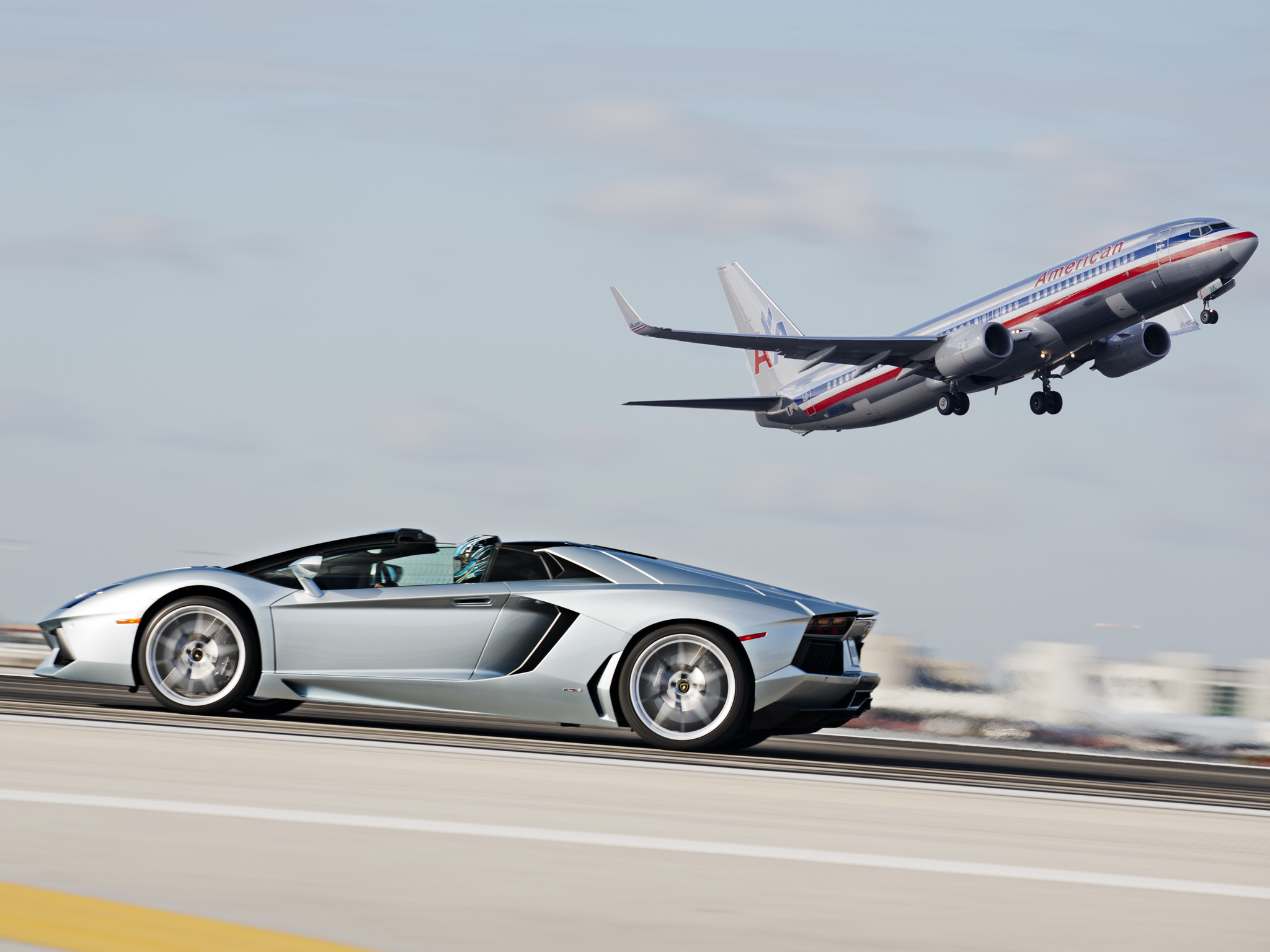 2014 Lamborghini Aventador Roadster supercar silver airplanet jets 2048x1536