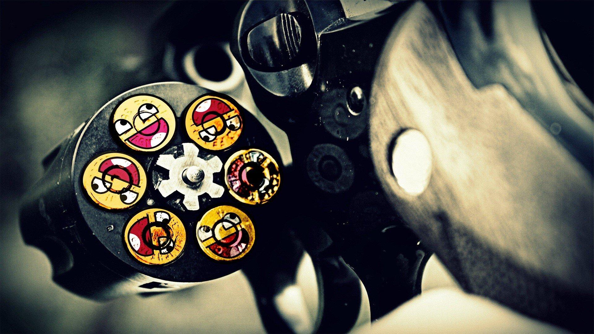 Guns ammunition smiley face Awesome Face wallpaper 1920x1080 1920x1080