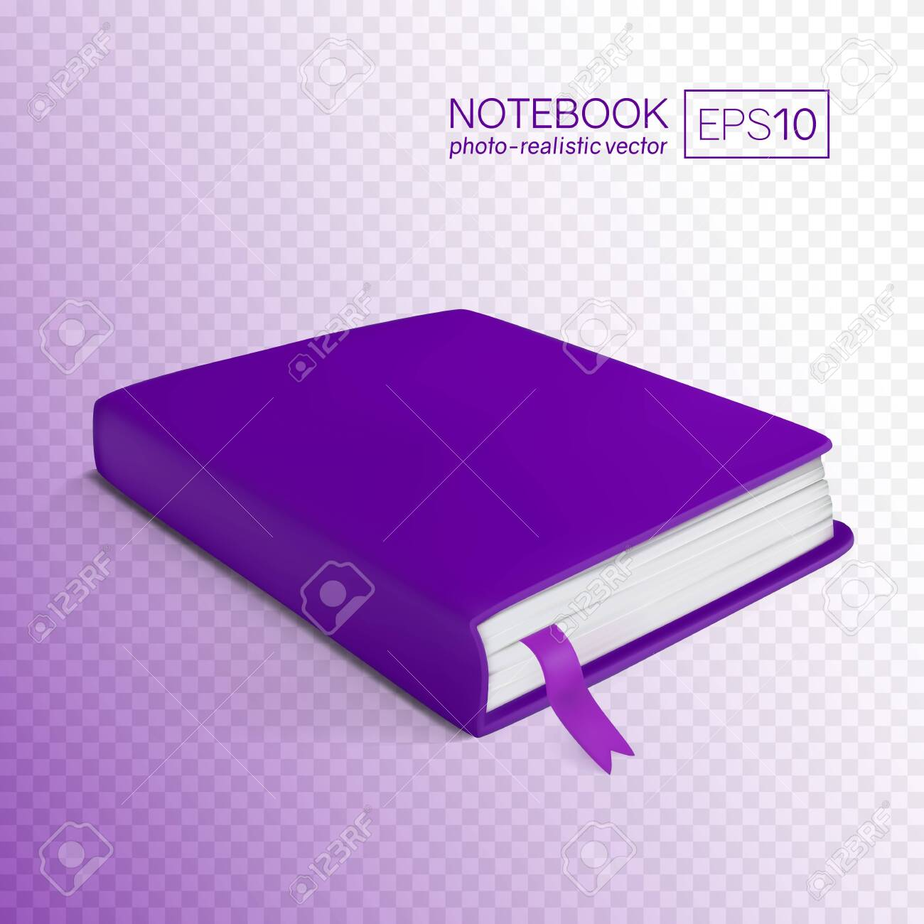 Realistic Purple Book With Bookmark Vector Illustration Isolated 1300x1300