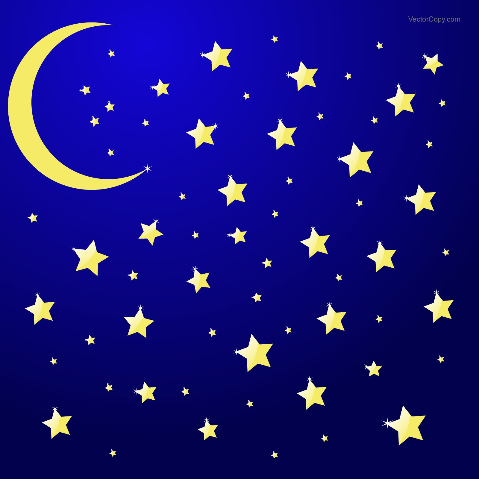 Night sky with moon and stars vector eps by VectorCopy 1600x1600
