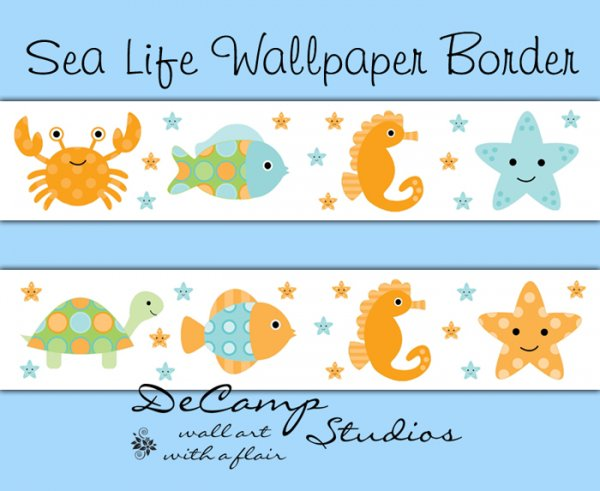 Sea Life Ocean Creatures Wallpaper Wall Border Nautical Nursery [439 600x491