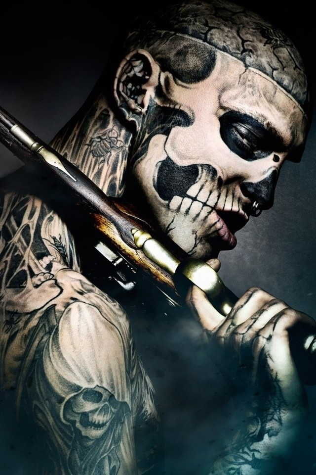 Tattoos And A Gun IPhone 4 Wallpaper 640x960