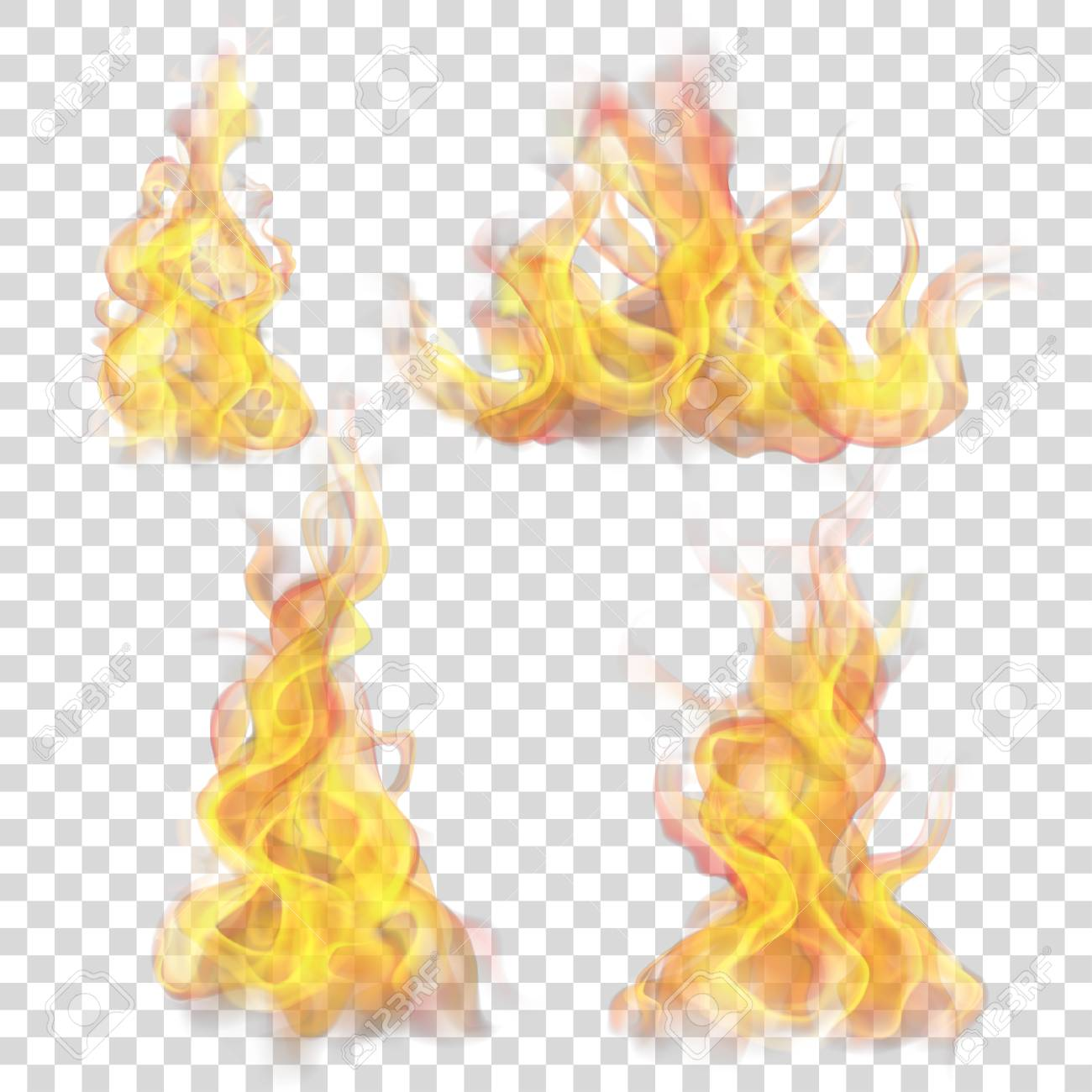 Set Of Fire Flame On Transparent Background For Used On Light 1300x1300