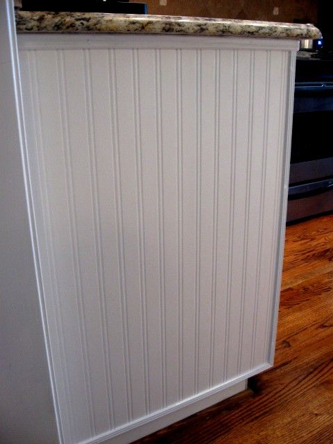 Beadboard wallpaper on end of cabinet [DIY] Pinterest 480x640