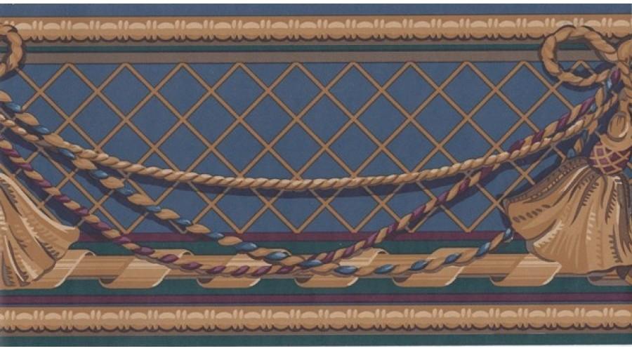 Home Navy Blue Gold Curtain Tassel Wallpaper Border 900x500