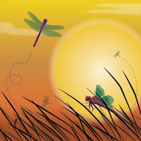 Dragonfly Sunset Background Vector Graphic landscape nature sun 600x600