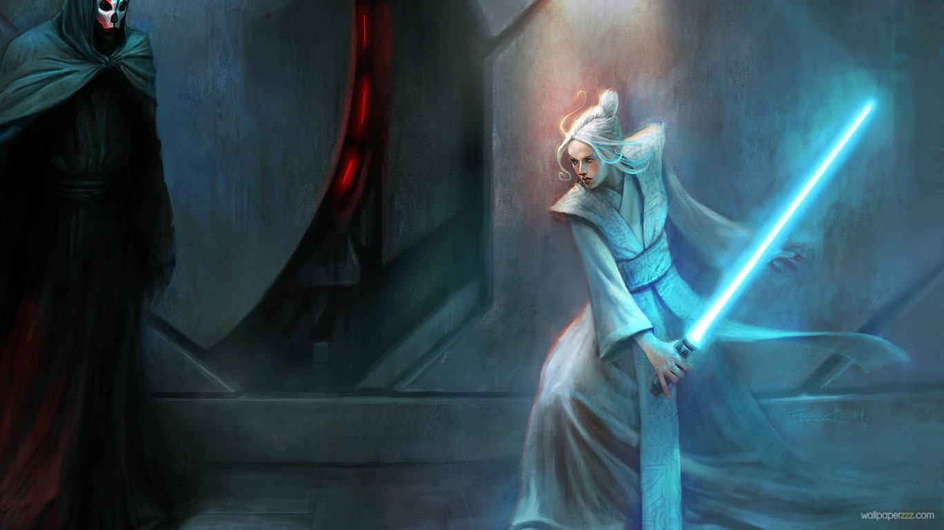 Download Jedi Girl Vs Sith Lord HD Wallpaper Wallpaper 1366x768