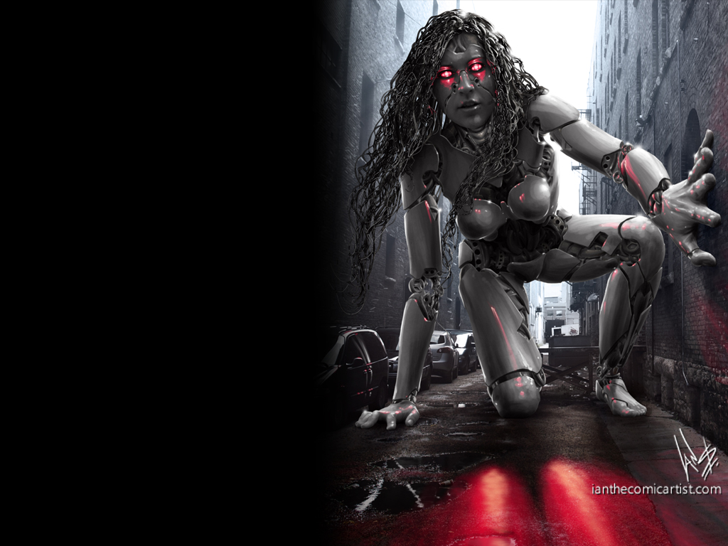 Gothic Photography Giant Cyberpunk Robot Desktop Wallpaper 1024x768