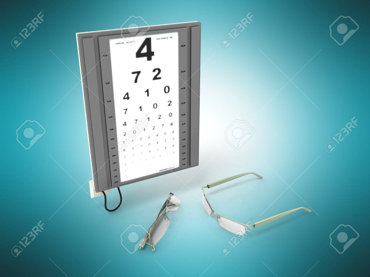 The Optometrist Board 3d Render On A Blue Background Stock Photo 1300x975