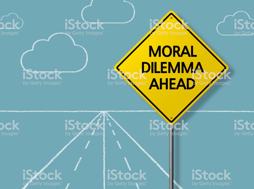 Moral Dilemma Ahead Business Chalkboard Background Stock Photo 1024x763