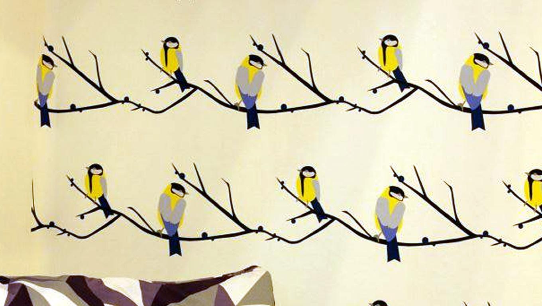 Bird Wallpaper Design by Lorna Syson at 100 Percent Design London UK 1360x768