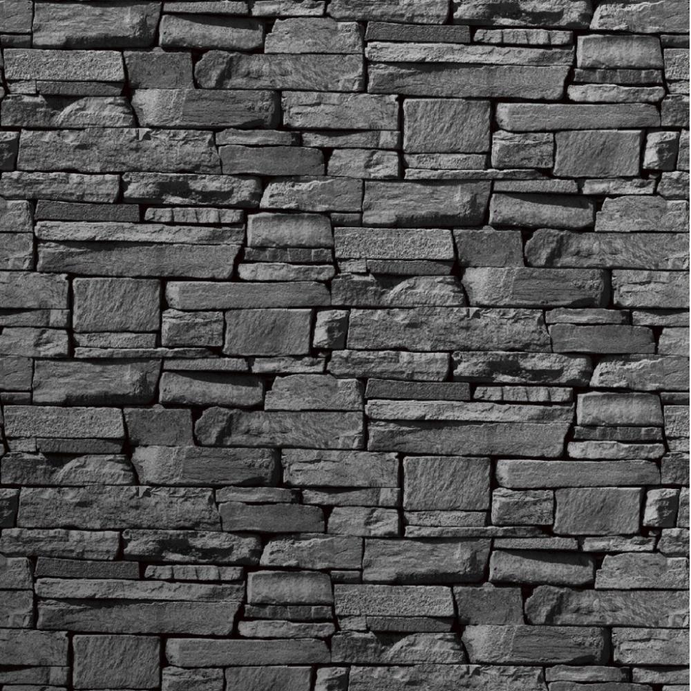 Wallpaper Grandeco Grandeco Dax Dry Stone Wall Slate Brick 1000x1000