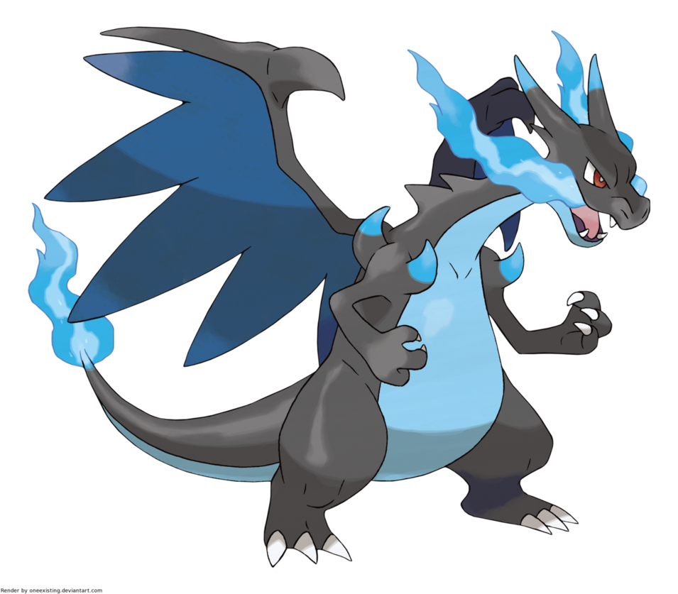 Pokemon Mega Charizard X version offical artwork by OneExisting on 955x837
