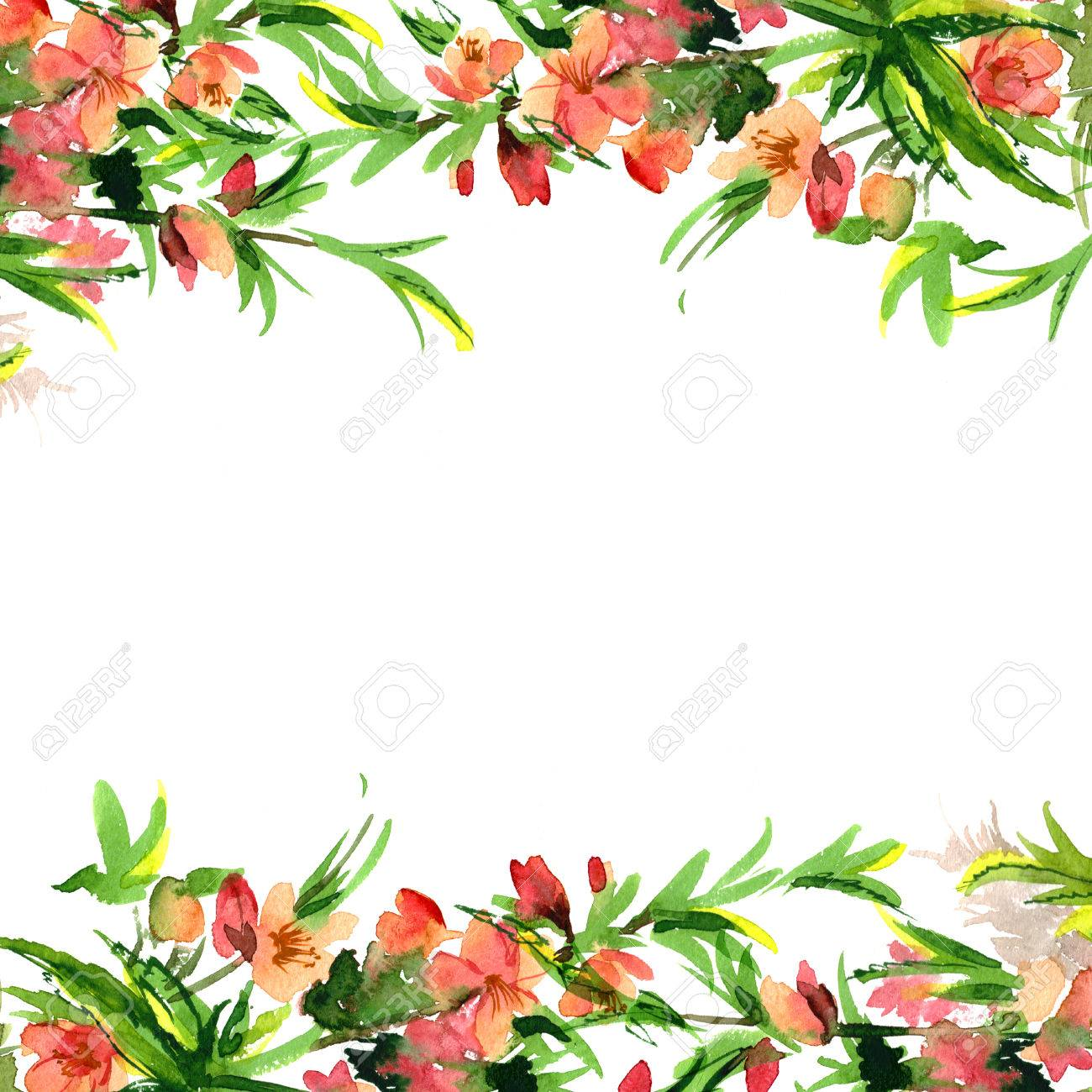 Cute Watercolor Flower Border Background With Watercolor Blossom 1300x1300