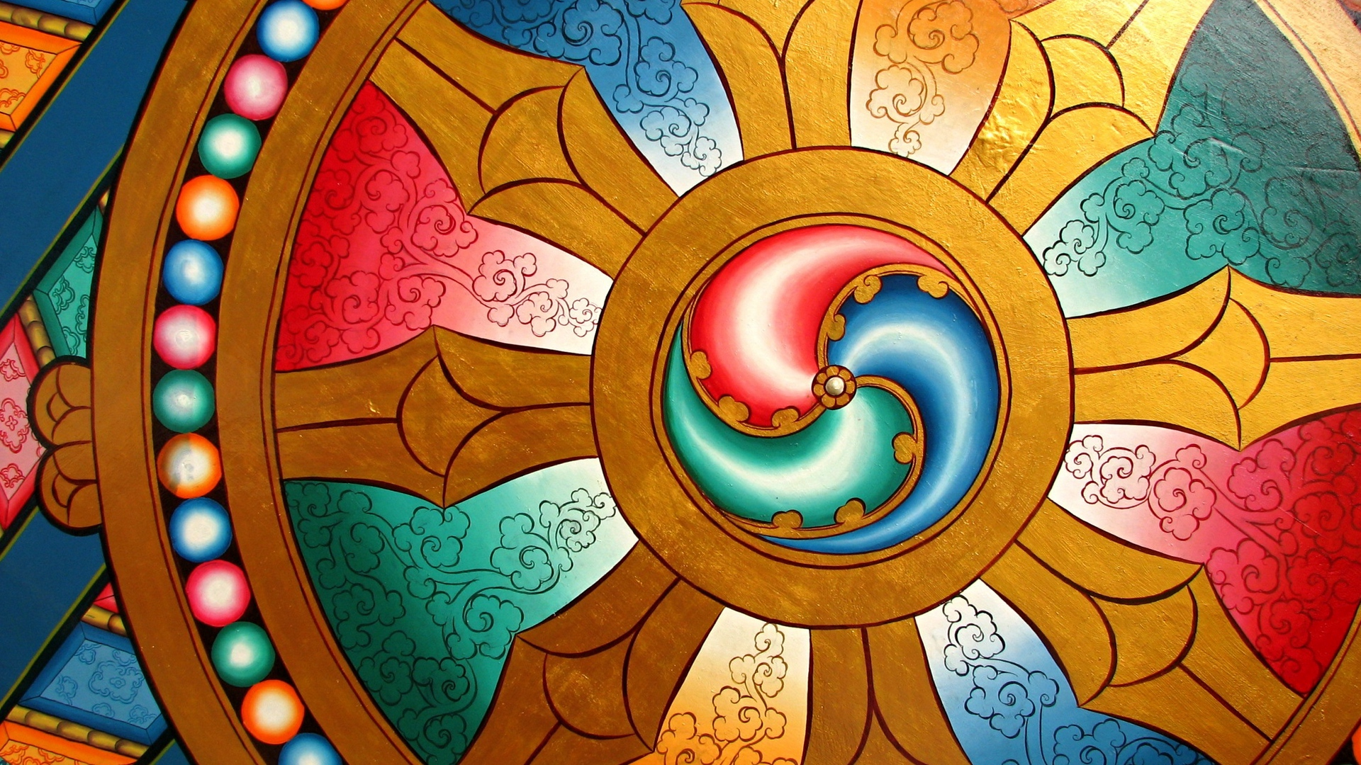 Download wallpaper 1920x1080 dharma wheel chakra buddhism full 1920x1080