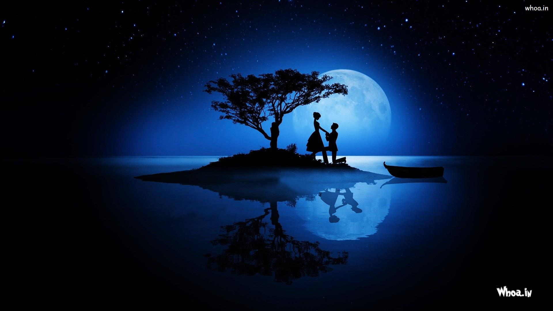 Boy Propose Girl With Moon Light HD Love Propose Wallpaper 1920x1080