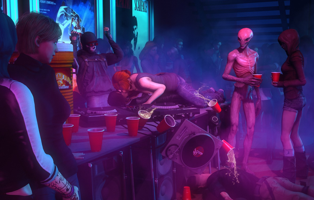 Wallpaper girl ufo alcohol alien party X com images for 1332x850