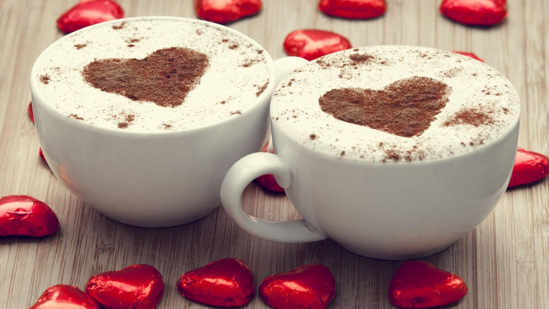 Wallpaper coffee heart cup foam Romantic coffee for two 1920x1080